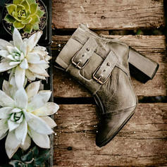 Women's PU Stiletto Heel Chunky Heel Ankle Boots With Buckle Zipper shoes