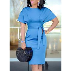 Pevný Krátké rukávy Přiléhavé Nad kolena Elegantní Šaty