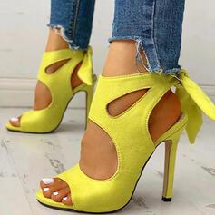 Women's PU Stiletto Heel Sandals Pumps With Hollow-out Flower Splice Color shoes