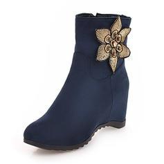 Femmes Suède Talon compensé Compensée Bottes Bottines avec Motif appliqué chaussures