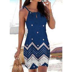 Print Sleeveless Sheath Above Knee Casual/Vacation Dresses