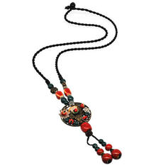 Fashionable Stylish Classic Alloy Ceramic With Gold Plated Women's Necklaces
