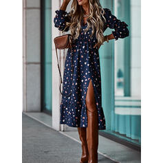 Print Long Sleeves A-line Skater Casual Midi Dresses