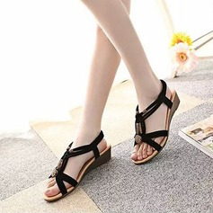 Women's Suede Wedge Heel Sandals Peep Toe Slingbacks With Beading Rivet Elastic Band shoes