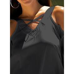 Solido Spalle esposte Maniche corte Casuale Elegante Camicie