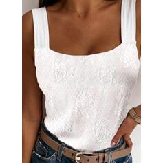Impresión Cuello Cuadrado Sin mangas Camisetas sin mangas