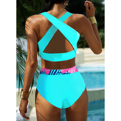 Floral Print Strap U-Neck Attractive Plus Size Casual Tankinis Swimsuits