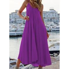 Solid Sleeveless Shift Casual/Vacation Midi Dresses
