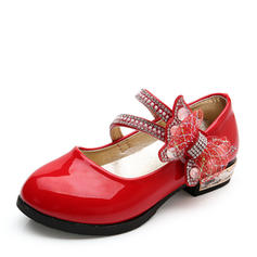 Girl's Closed Toe Leatherette Flat Heel Flats Flower Girl Shoes With Bowknot Rhinestone Velcro