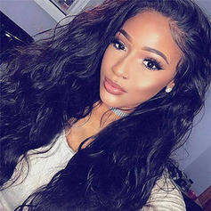 4A Non remy Loose Wavy Human Hair Lace Front Wigs With Baby Hair