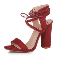 Women's Fabric Stiletto Heel Sandals Pumps With Lace-up shoes