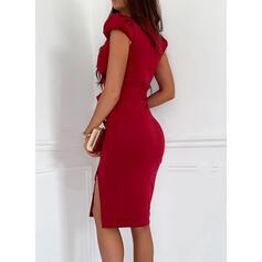 Jednolita Krótkie rękawy/Bufiaste rękawy Pokrowiec Długośc do kolan Elegancki Okrycie Sukienki