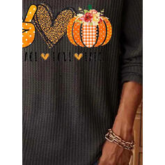 Print V-Neck Long Sleeves Casual Halloween Blouses
