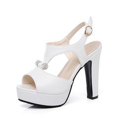 Naisten Keinonahasta Piikkikorko Sandaalit Platform Peep toe Kantiohihnakengät jossa Tekojalokivi kengät