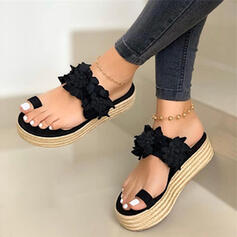 Women's Leatherette Flat Heel Sandals Flats Slippers Toe Ring With Flower shoes