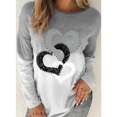 Print Gradient Heart Round Neck Long Sleeves Casual T-shirts