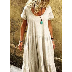 Solid Short Sleeves Shift Casual/Vacation Maxi Dresses