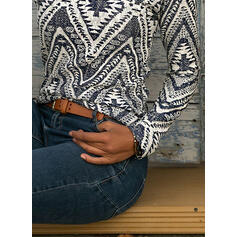 Print High Neck Long Sleeves Casual Blouses