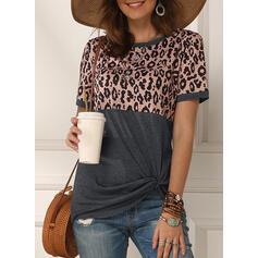 Retalhos Leopardo Gola Redonda Manga Curta Casual Camisetas