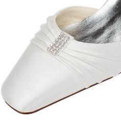Frauen Satin Stämmiger Absatz Absatzschuhe Sandalen mit Schmuckabsatz