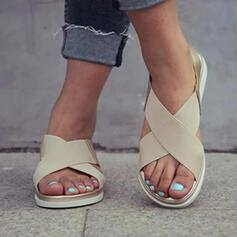 Mulheres Tecido PU Sem salto Sandálias Peep toe com Faixa Elástica sapatos