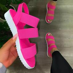 Femmes PU Talon plat Sandales Chaussures plates À bout ouvert avec Ouvertes Couleur unie chaussures