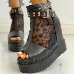 Femmes Mesh PU Talon compensé Sandales À bout ouvert avec Rivet Boucle Ouvertes chaussures