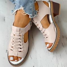 Women's PU Chunky Heel Peep Toe With Zipper shoes