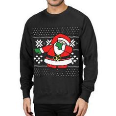 Men's Polyester Cotton Blends Print Santa Christmas Sweatshirt