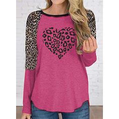 Leopard Rundhalsausschnitt Lange Ärmel Freizeit T-shirts