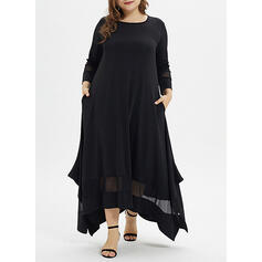 Solid 3/4 Sleeves Shift Little Black/Elegant Midi Dresses
