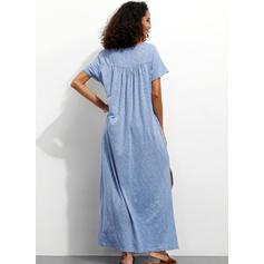 Pevný Krátké rukávy Splývavé Neformální/Dovolená Maxi Šaty