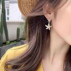 Starfish Alloy Imitation Pearls Women's Earrings