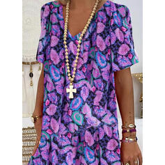 Print Short Sleeves Shift Knee Length Casual/Vacation Dresses