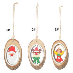 Merry Christmas Snowman Reindeer Santa Hanging Wooden Christmas Pendant Tree Hanging Ornaments