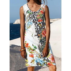 Print/Floral/Leopard Sleeveless Sheath Above Knee Casual/Vacation Dresses
