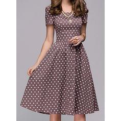 PolkaDot Short Sleeves A-line Knee Length Vintage/Casual/Elegant Dresses