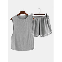 Round Neck Sleeveless Solid Color Casual Top & Short Sets