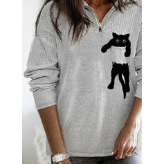 Animal Print Lapel Casual Sweaters