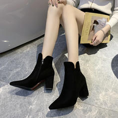 Women's Fabric Chunky Heel Ankle Boots With Split Joint shoes