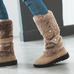 Kvinner PU Lav Hæl Mid Leggen Støvler Snø Støvler med Faux-Fur sko