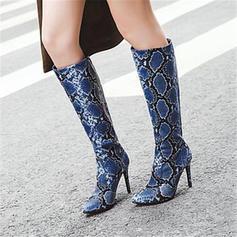 Donna PU Tacco a spillo Stivali al ginocchio con Animale Stampa scarpe