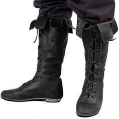 Mulheres Couro Salto baixo Sem salto Bota no joelho com Aplicação de renda sapatos