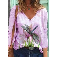 Floral Animal Print V-Neck Long Sleeves Casual T-shirts