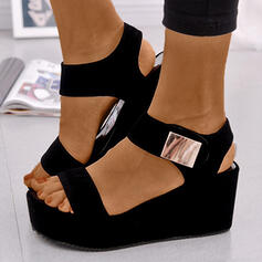 Women's PU Wedge Heel Sandals Platform Wedges Peep Toe With Buckle shoes