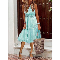 Lace/Print Sleeveless A-line Skater Casual/Vacation Midi Dresses