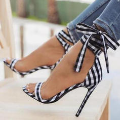 Women's Fabric Stiletto Heel Sandals Pumps Peep Toe With Lace-up shoes