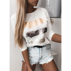 Print Round Neck 3/4 Sleeves Casual T-shirts
