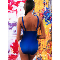 Print Splice color Strap V-Neck Plus Size One-piece Swimsuits