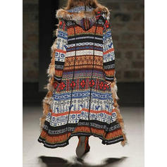 Polyester Long Sleeves Print Blend Coats
